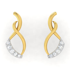 diamond studded gold jewellery - Palixena Studs and Tops Earrings - Pristine Fire - 2