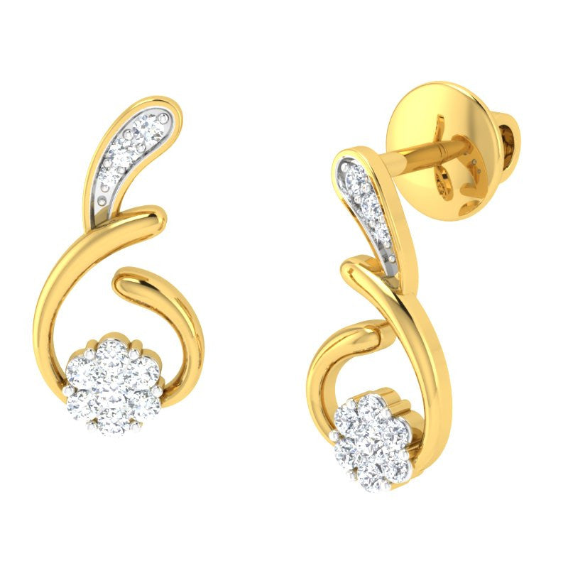 diamond studded gold jewellery - Aimee Studs and Tops Earrings - Pristine Fire - 1