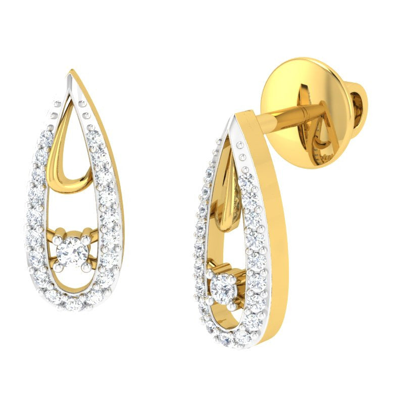 diamond studded gold jewellery - Kaitlan Studs and Tops Earrings - Pristine Fire - 1