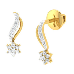 diamond studded gold jewellery - Venecia Studs and Tops Earrings - Pristine Fire - 1