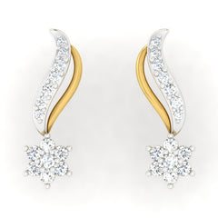 diamond studded gold jewellery - Venecia Studs and Tops Earrings - Pristine Fire - 2