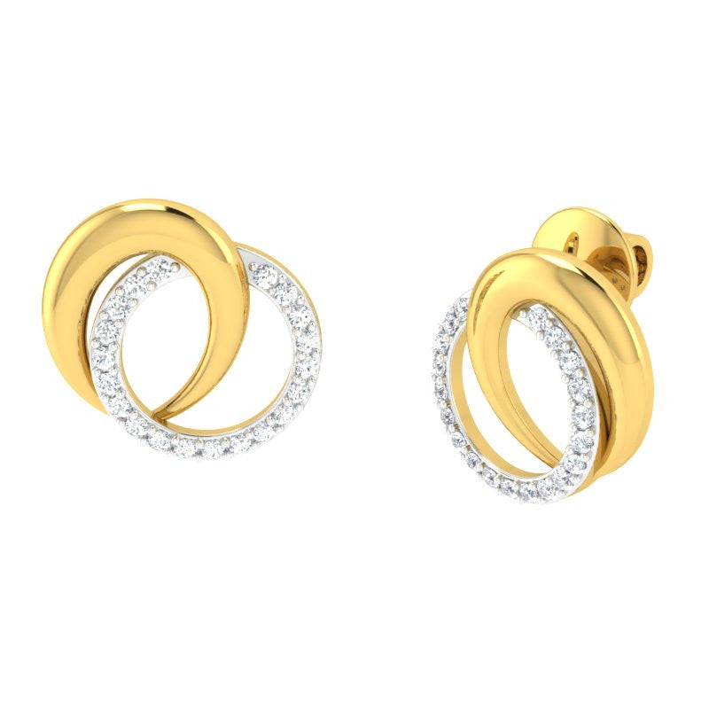 diamond studded gold jewellery - Averi Studs and Tops Earrings - Pristine Fire - 1