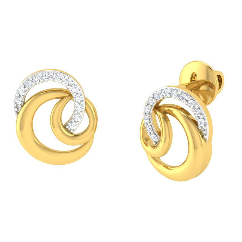diamond studded gold jewellery - Moira Studs and Tops Earrings - Pristine Fire - 1
