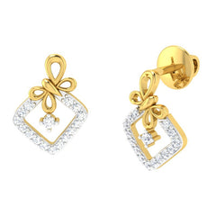 diamond studded gold jewellery - Malvina Studs and Tops Earrings - Pristine Fire - 1