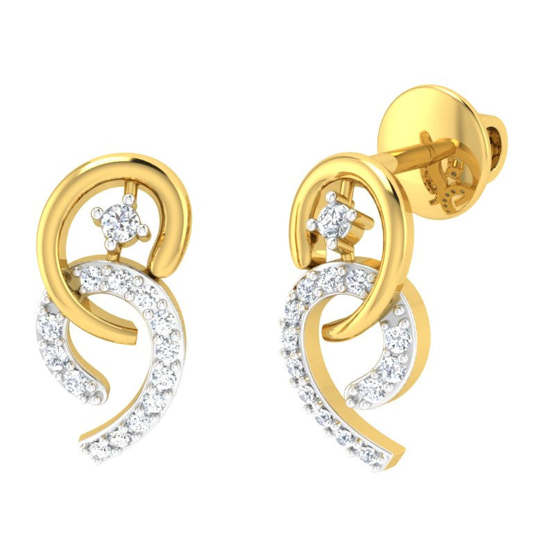diamond studded gold jewellery - Olaya Studs and Tops Earrings - Pristine Fire - 1