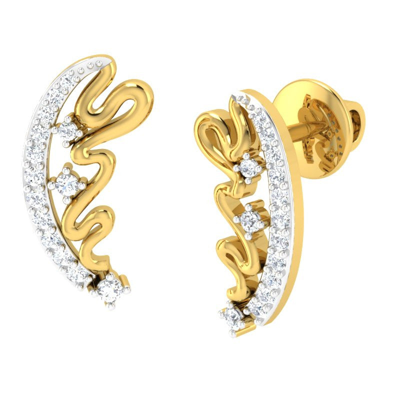 diamond studded gold jewellery - Marylin Studs and Tops Earrings - Pristine Fire - 1