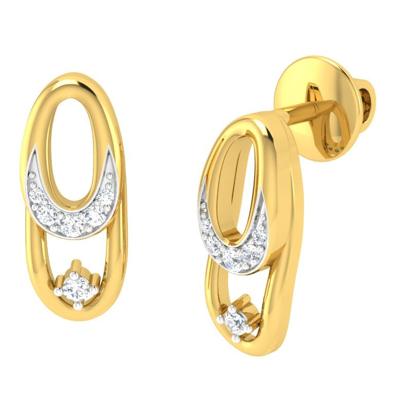 diamond studded gold jewellery - Abrienda Studs and Tops Earrings - Pristine Fire - 1