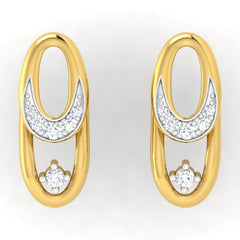 diamond studded gold jewellery - Abrienda Studs and Tops Earrings - Pristine Fire - 2