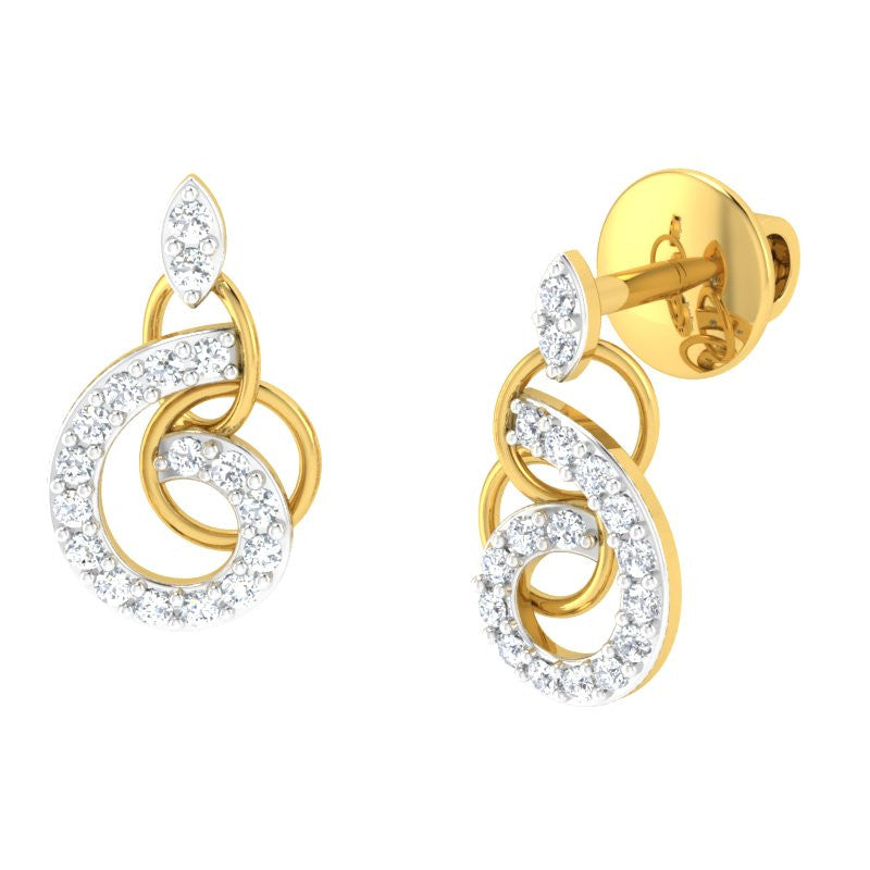 diamond studded gold jewellery - Emmily Studs and Tops Earrings - Pristine Fire - 1