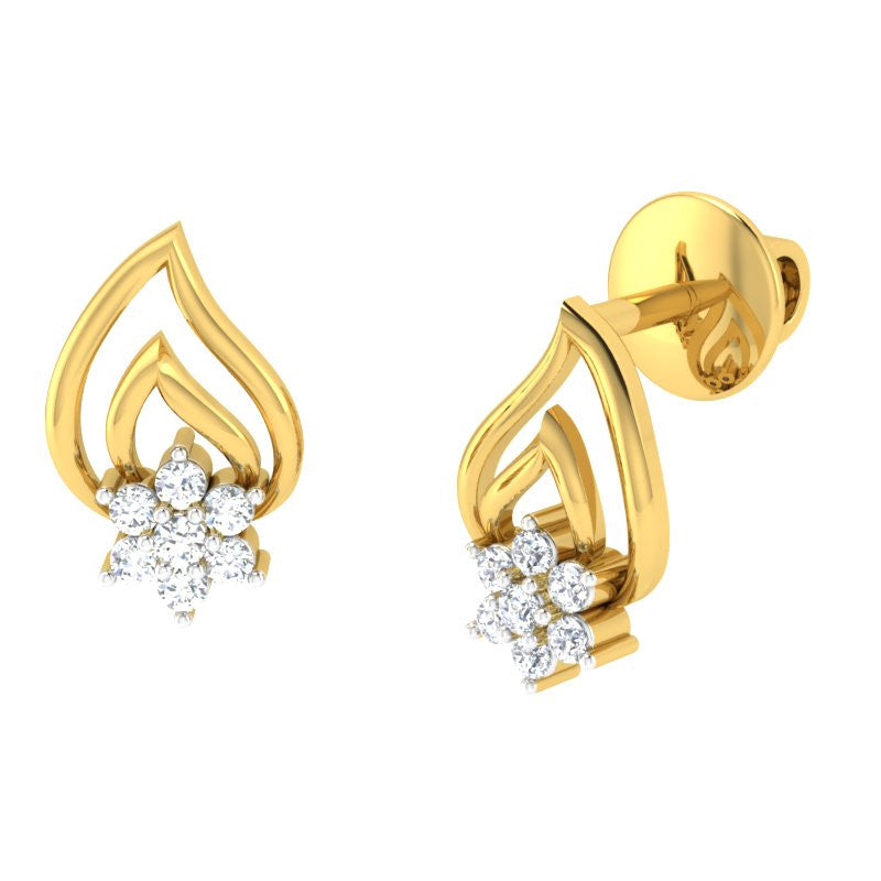 diamond studded gold jewellery - Talma Studs and Tops Earrings - Pristine Fire - 1