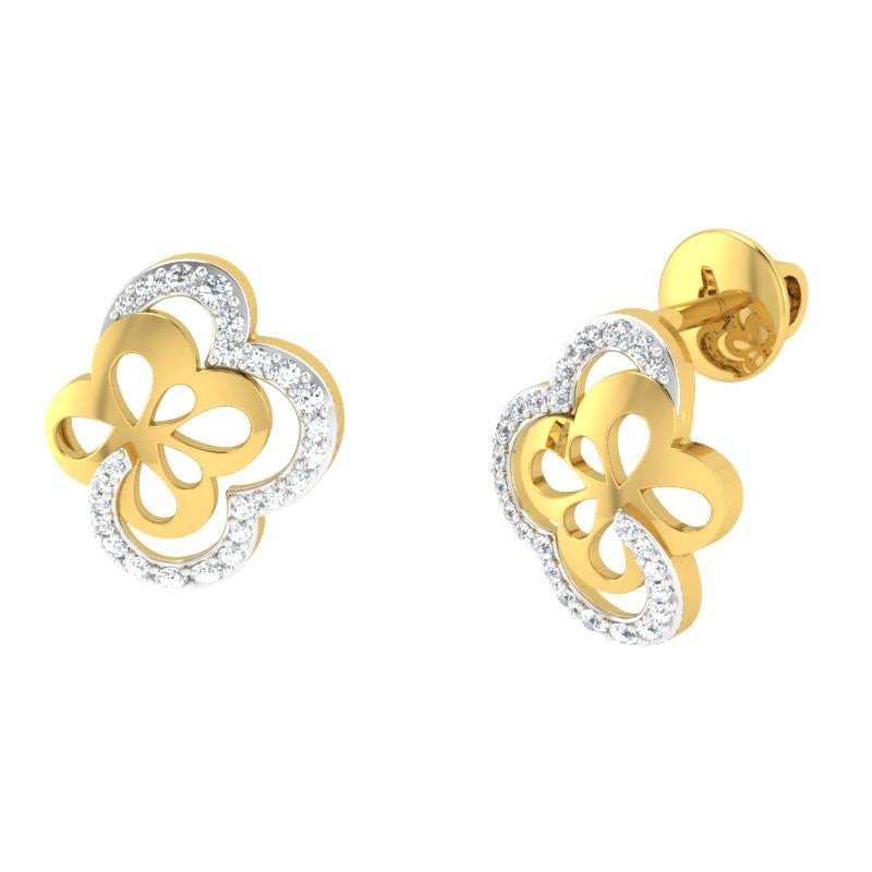 diamond studded gold jewellery - Takeisha Studs and Tops Earrings - Pristine Fire - 1
