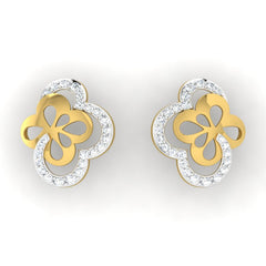 diamond studded gold jewellery - Takeisha Studs and Tops Earrings - Pristine Fire - 2