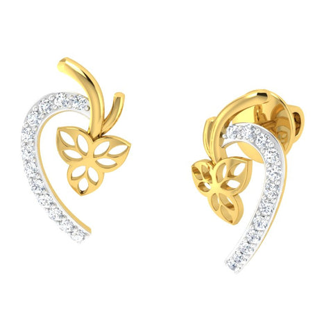 diamond studded gold jewellery - Damonica Studs and Tops Earrings - Pristine Fire - 1