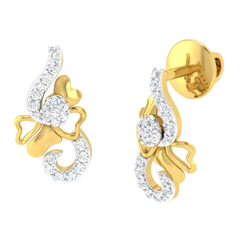 diamond studded gold jewellery - Mallorie Studs and Tops Earrings - Pristine Fire - 1