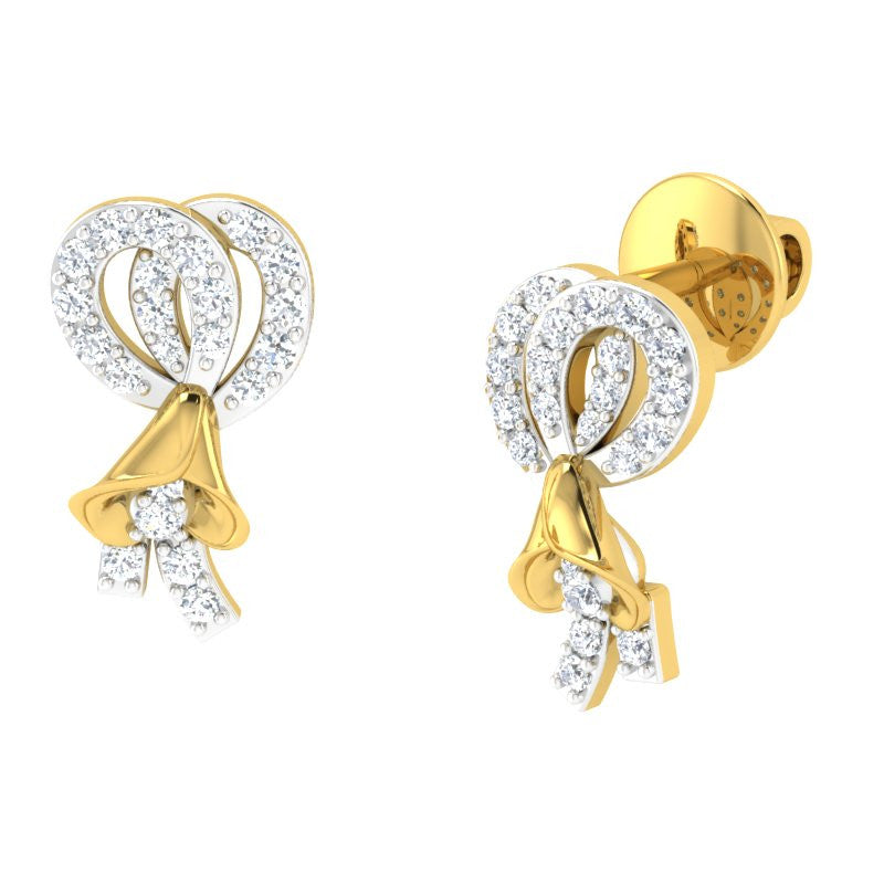 diamond studded gold jewellery - Joselyne Studs and Tops Earrings - Pristine Fire - 1