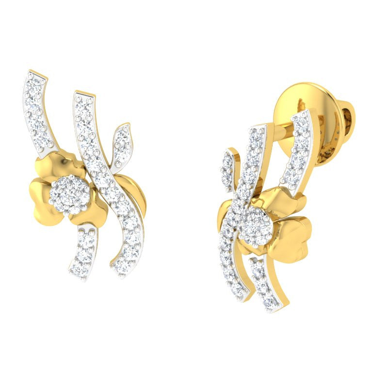 diamond studded gold jewellery - Annmaria Studs and Tops Earrings - Pristine Fire - 1