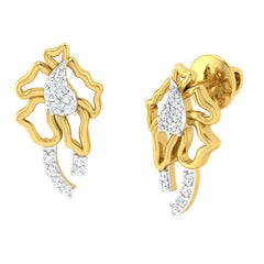diamond studded gold jewellery - Servia Studs and Tops Earrings - Pristine Fire - 1