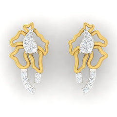 diamond studded gold jewellery - Servia Studs and Tops Earrings - Pristine Fire - 2