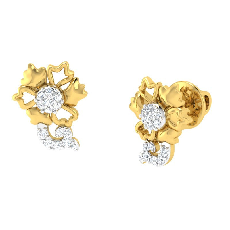 diamond studded gold jewellery - Bibi Studs and Tops Earrings - Pristine Fire - 1