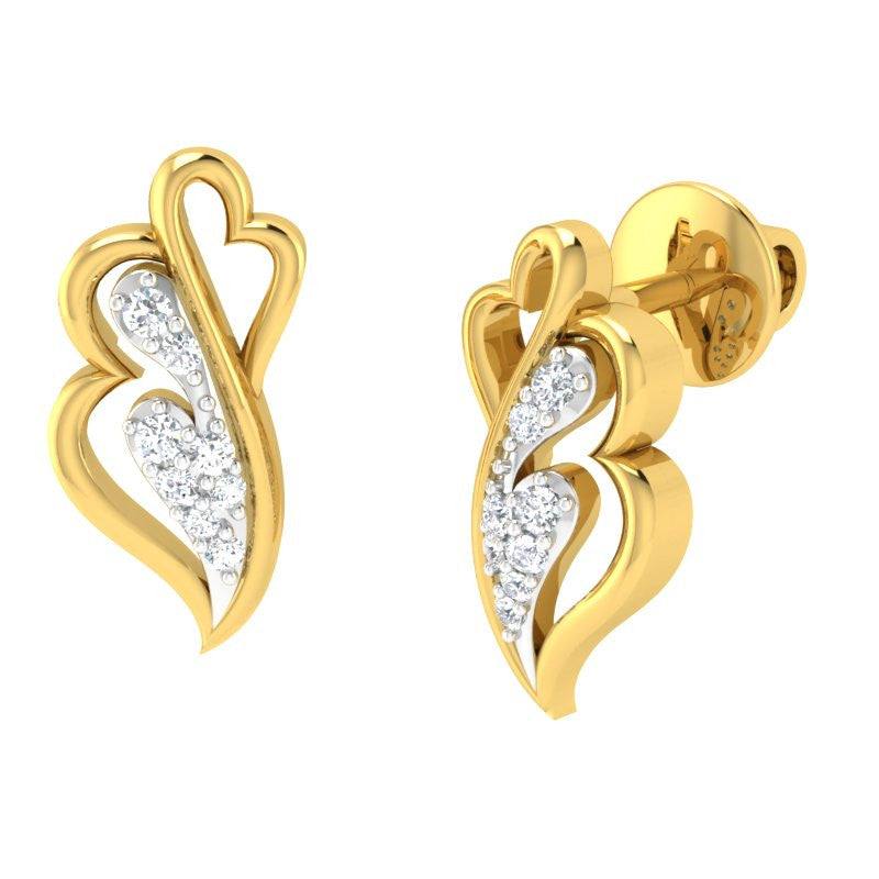 diamond studded gold jewellery - Janese Studs and Tops Earrings - Pristine Fire - 1