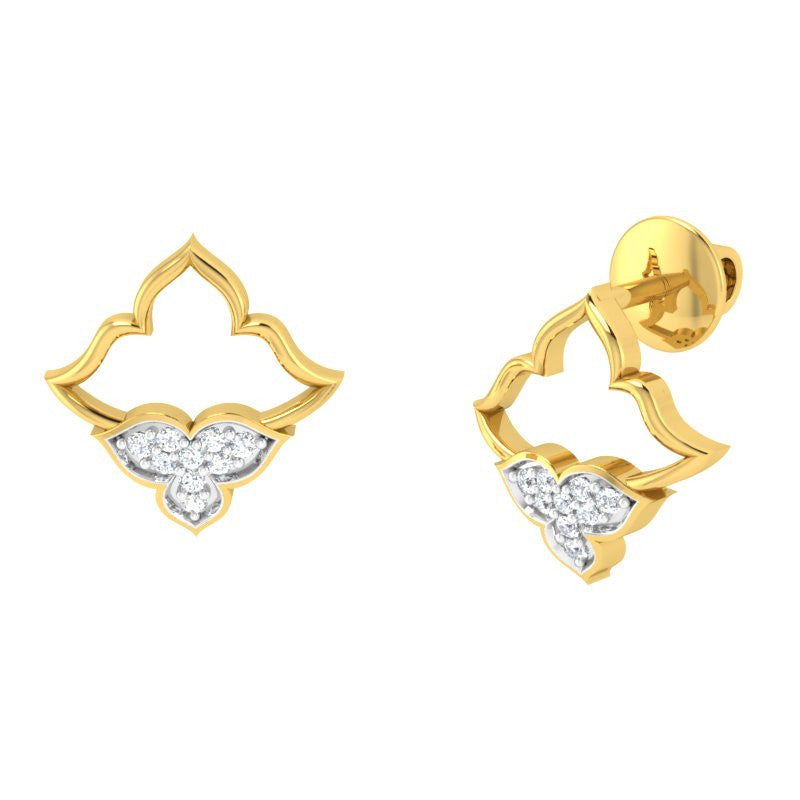 diamond studded gold jewellery - Marianna Studs and Tops Earrings - Pristine Fire - 1