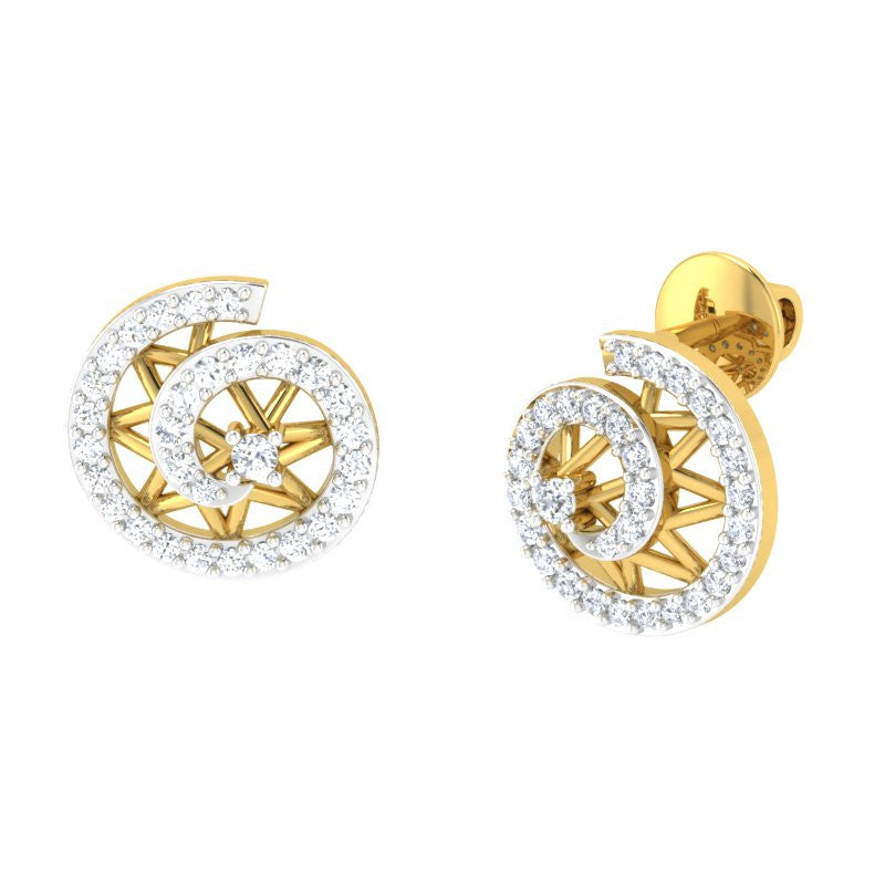 diamond studded gold jewellery - Mina Studs and Tops Earrings - Pristine Fire - 1