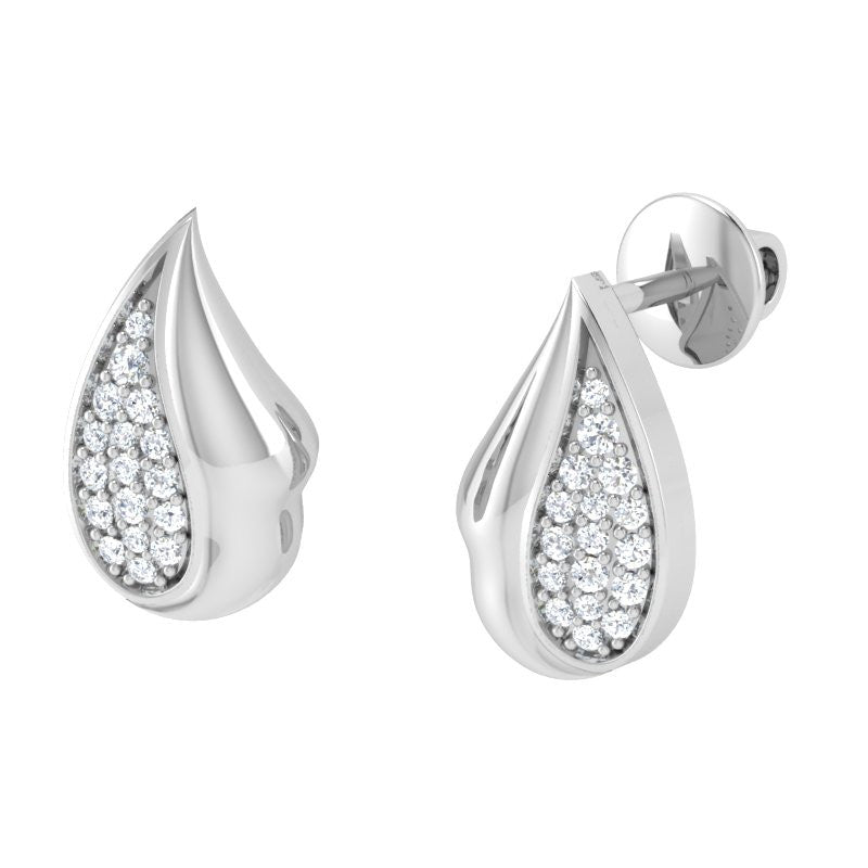 diamond studded gold jewellery - Christel Studs and Tops Earrings - Pristine Fire - 1