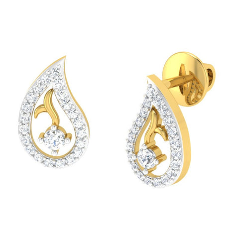 diamond studded gold jewellery - Colette Studs and Tops Earrings - Pristine Fire - 1