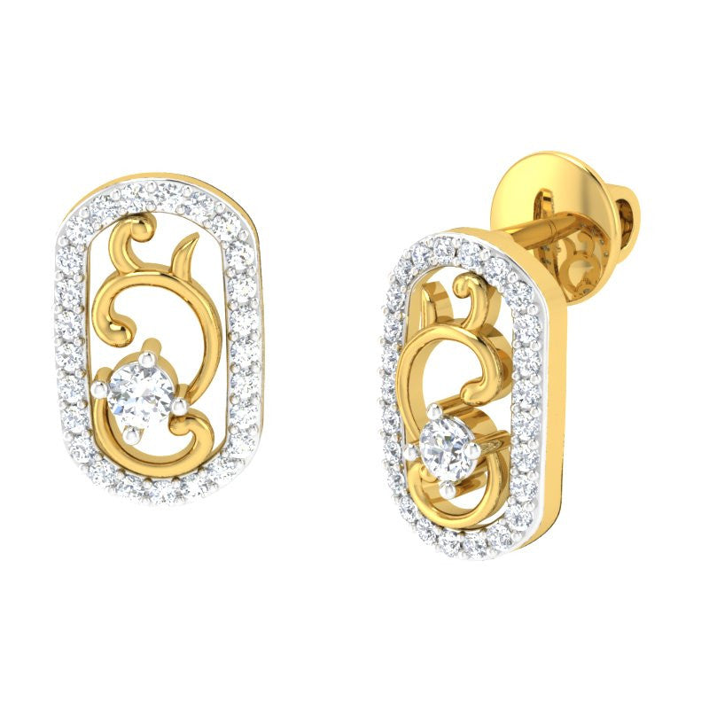 diamond studded gold jewellery - Chaylea Studs and Tops Earrings - Pristine Fire - 1