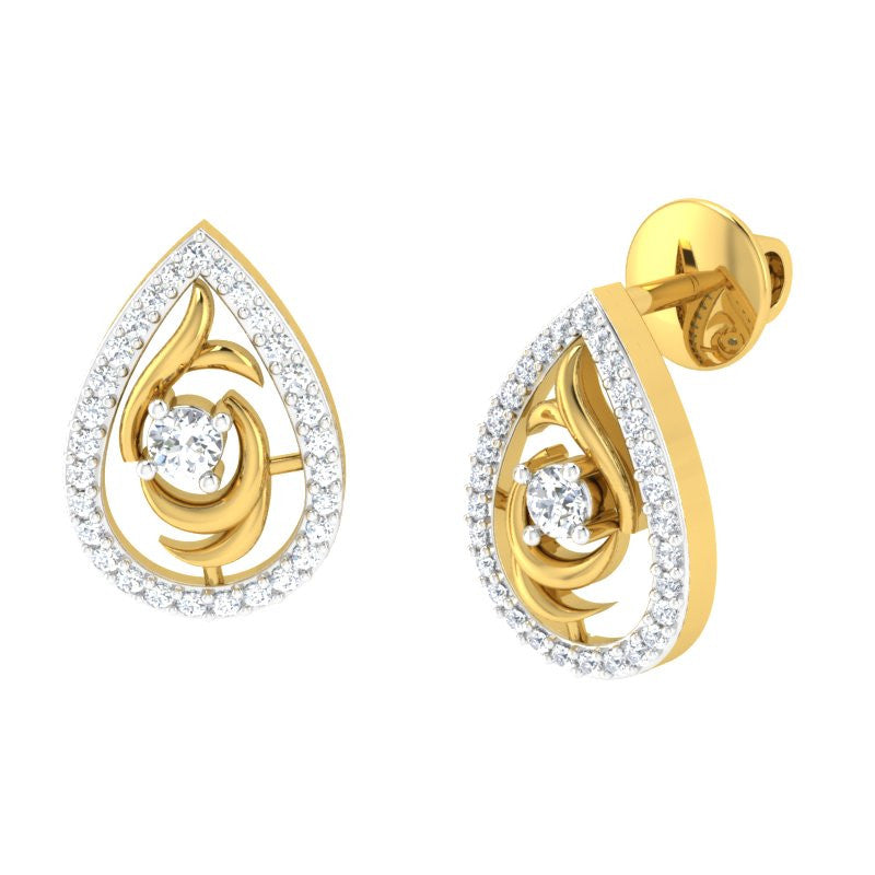 diamond studded gold jewellery - Landyn Studs and Tops Earrings - Pristine Fire - 1