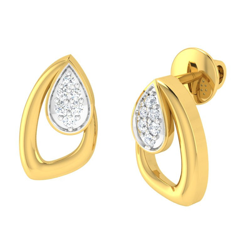 diamond studded gold jewellery - Panthea Studs and Tops Earrings - Pristine Fire - 1