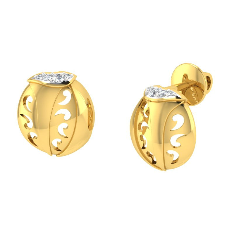 diamond studded gold jewellery - Roshawna Studs and Tops Earrings - Pristine Fire - 1