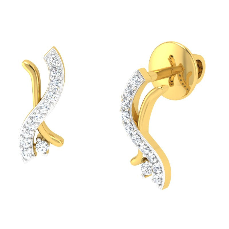 diamond studded gold jewellery - Missy Studs and Tops Earrings - Pristine Fire - 1