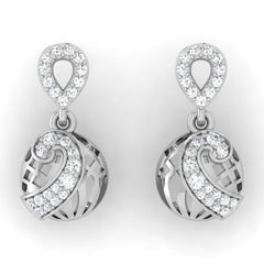 diamond studded gold jewellery - Melani Drops and Danglers Earrings - Pristine Fire - 2
