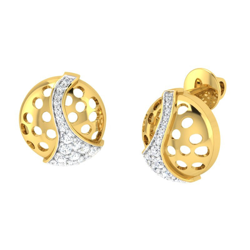 diamond studded gold jewellery - Cira Studs and Tops Earrings - Pristine Fire - 1