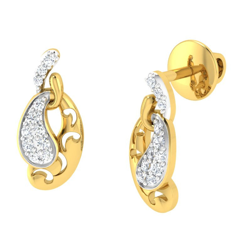 diamond studded gold jewellery - Lacey Studs and Tops Earrings - Pristine Fire - 1