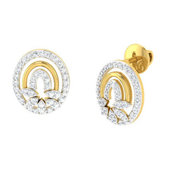 diamond studded gold jewellery - Josianne Studs and Tops Earrings - Pristine Fire - 1
