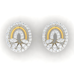 diamond studded gold jewellery - Josianne Studs and Tops Earrings - Pristine Fire - 2