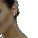 diamond studded gold jewellery - Nikita Studs and Tops Earrings - Pristine Fire - 4