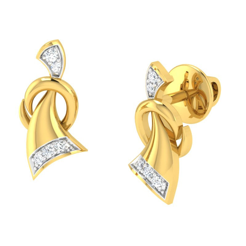 diamond studded gold jewellery - Bibiana Studs and Tops Earrings - Pristine Fire - 1