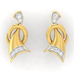 diamond studded gold jewellery - Bibiana Studs and Tops Earrings - Pristine Fire - 2