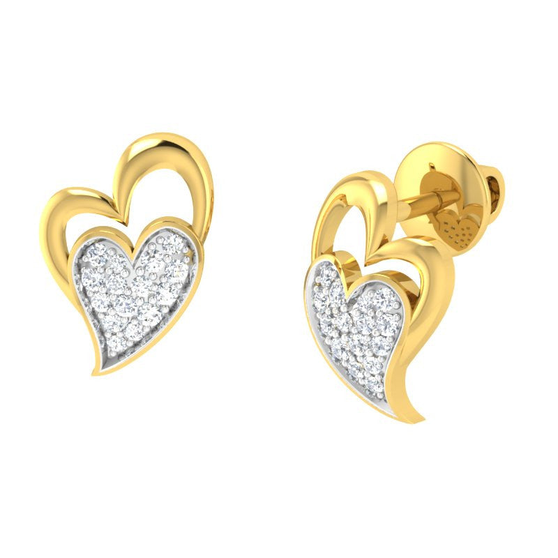diamond studded gold jewellery - Jocelynn Studs and Tops Earrings - Pristine Fire - 1