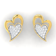diamond studded gold jewellery - Jocelynn Studs and Tops Earrings - Pristine Fire - 2