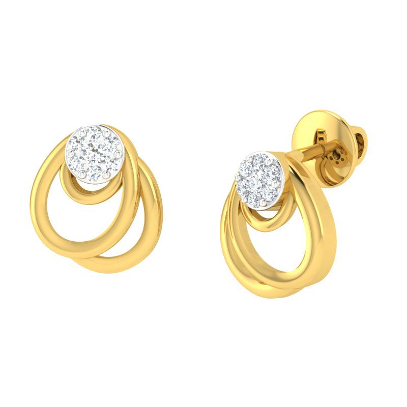 diamond studded gold jewellery - Lysandre Studs and Tops Earrings - Pristine Fire - 1