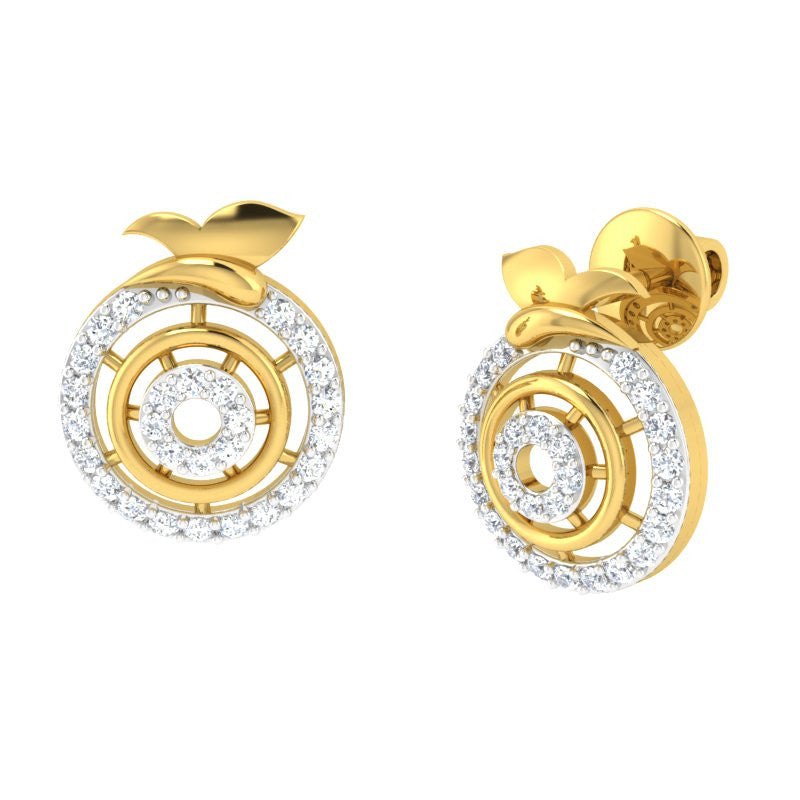 diamond studded gold jewellery - Bonny Studs and Tops Earrings - Pristine Fire - 1