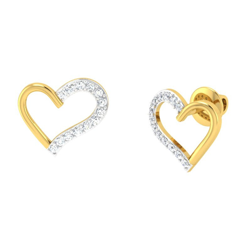 diamond studded gold jewellery - Brieanna Studs and Tops Earrings - Pristine Fire - 1