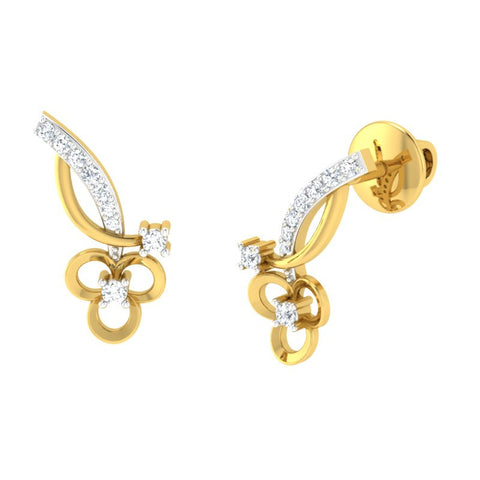 diamond studded gold jewellery - Asia Studs and Tops Earrings - Pristine Fire - 1