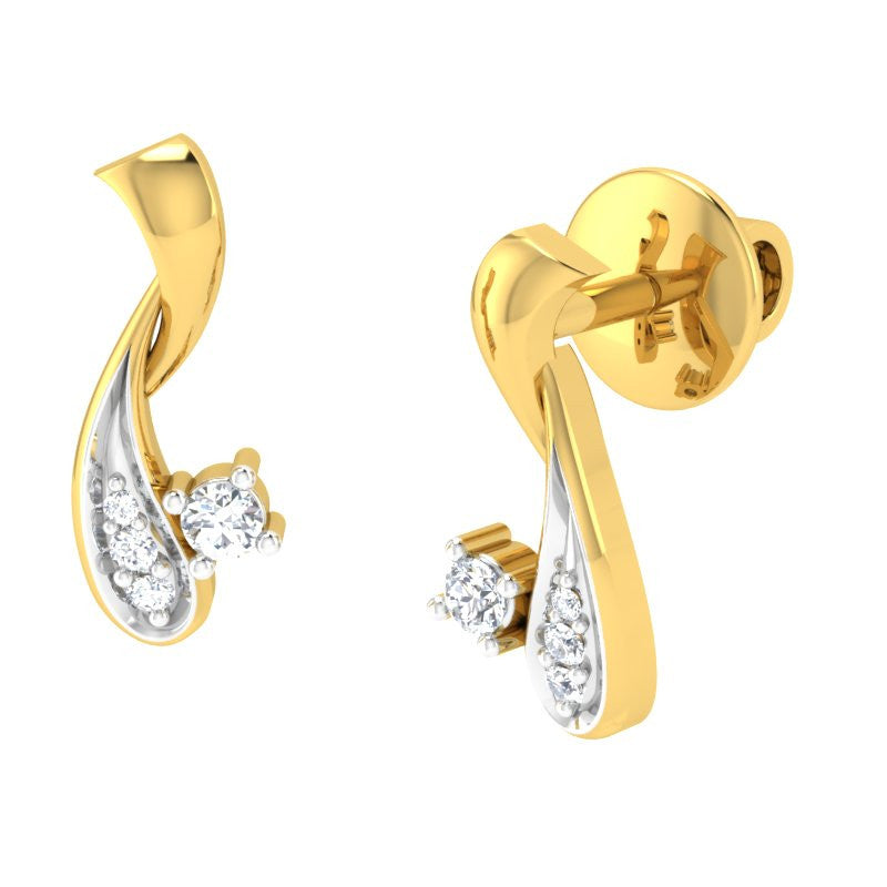 diamond studded gold jewellery - Tabbatha Studs and Tops Earrings - Pristine Fire - 1