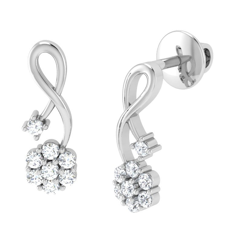 diamond studded gold jewellery - Cassia Studs and Tops Earrings - Pristine Fire - 1