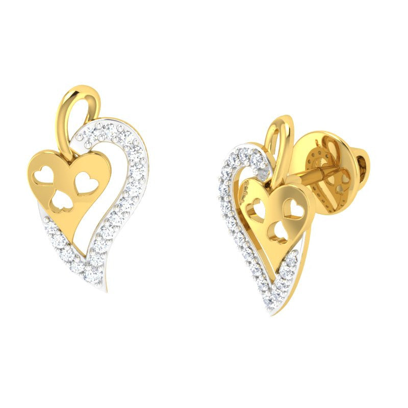 diamond studded gold jewellery - Tita Studs and Tops Earrings - Pristine Fire - 1
